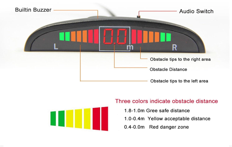 argento Autoutlet DC 12/V auto posteriore inverso parcheggio 4/sensori di retromarcia audio allarme acustico display LCD