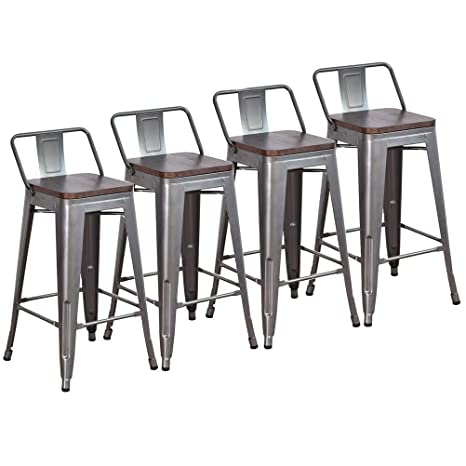 Sensational Dekea 24 Inch Low Back Metal Bar Stools With Wooden Top Counter Height Barstools Set Of 4 For Kitchen Or Indoor Outdoor Gunmetal Forskolin Free Trial Chair Design Images Forskolin Free Trialorg