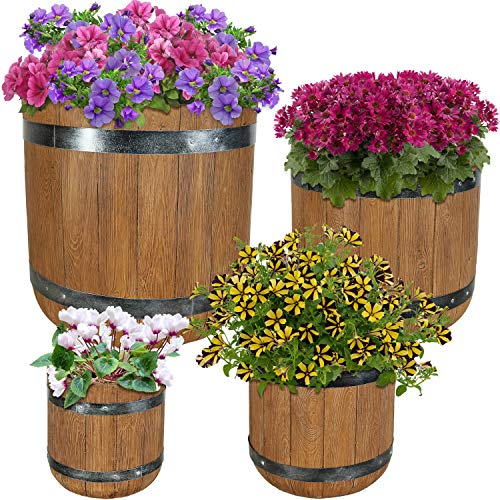 Sunnydaze Vineyard Fiber Clay Classic Barrel Planter Flower Pot, Durable Indoor/Outdoor 9-Inch, 12-Inch, 15-Inch and 19-Inch 4-Piece Set