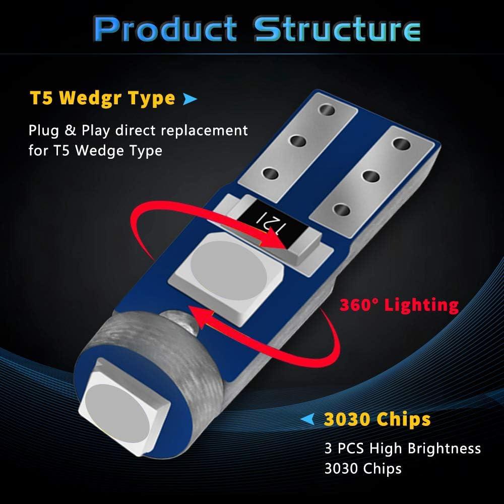 Javr Confezione da 30 lampadine LED T5 W3W W1.2W 73 74 286 18 86 LED 3030 3SMD per auto lato cuneo Gauge cruscotto strumento pannello luci 12V