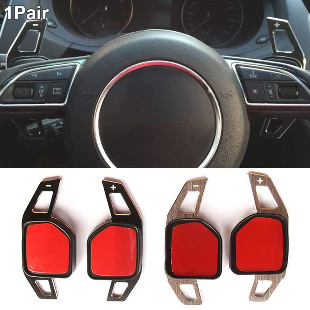 1 paire de palettes de volant pour Audi noir r/ésistance /à la corrosion Alliage daluminium pour volant de voiture Shift Blade Paddle Extension