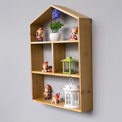 CSQ Creative Shelf, Solid Wood Wall Hanging Shelves Creative House  Bookshelf Toy Study Living Room