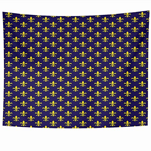 - Ahawoso Tapestry 60x50 Inch Uniform Blue Monarch Fleur De Lis Pattern Monarchy Abstract Navy Regal Castle Arms Crest Dark Tapestries Wall Hanging Home Decor for Living Room Bedroom Dorm