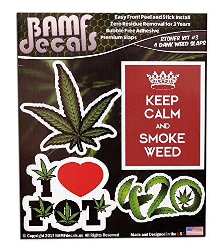 BAMFdecals Keep Calm and Smoke Weed 420 Marijuana Leaf I Heart Pot Slap Pack Stoner Kit No. 3 - Includes 4 Various Size Printed Stickers Single Sheet