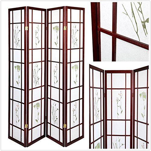 Magshion Oriental Room Divider Hardwood Shoji Screen (Floral Print-Cherry, 4-Panel)