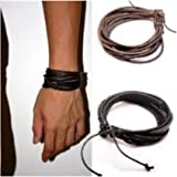 Coolla Adjustable Black & Brown Leather Wristband and Rope Cuff Bracelet, 18cm, 2-Pack