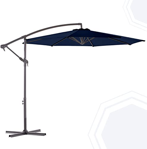 BLUU BANYAN 10 FT Patio Offset Umbrella Outdoor Cantilever Umbrella Hanging Umbrellas