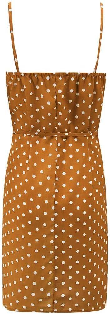 TEELONG sukienka damska, bez rękawÓw, nadruk w kształcie litery V, seksowna, na plażę, na imprezę, do kolan: Odzież