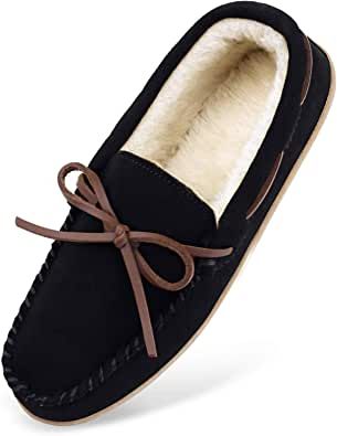 HOSWO Men's Slippers, Moccasins Sheepskin Slippers for Men Memory Foam Breathable Ourdoor Indoor Suede Slip on House Shoes with Fuzzy Plush Faux Fur Lining