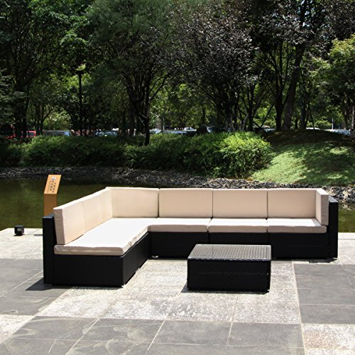 U-MAX 7 Piece 7-12 Pieces Patio PE Rattan Wicker Sofa Sectional Furniture Set (7 Pieces, Black) by U-MAX (Image #3)