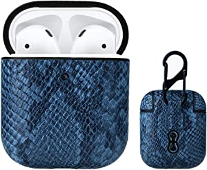 Ladysen Airpods Case Cover Snake Skin with Keychain for Apple Airpod 2&1, Portable Shockproof Protective Earbuds Accessory for Men Women(The Front LED Visible)