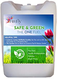 Firefly Kosher Safe and Green Lamp Oil Fuel - Non Toxic - Biodegradable - Virtually Odorless - Paraffin Alternative - Indoor Outdoor Use - Lamps, Lanterns, Candles, Tiki Torches - Bulk 5 Gallons