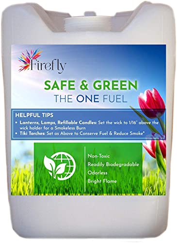 Firefly Safe and Green Lamp Oil Fuel – Non Toxic – Biodegradable – Virtually Odorless – Paraffin Alternative – Indoor Outdoor Use – Lamps, Lanterns, Candles, Tiki Torches – Bulk 5 Gallons