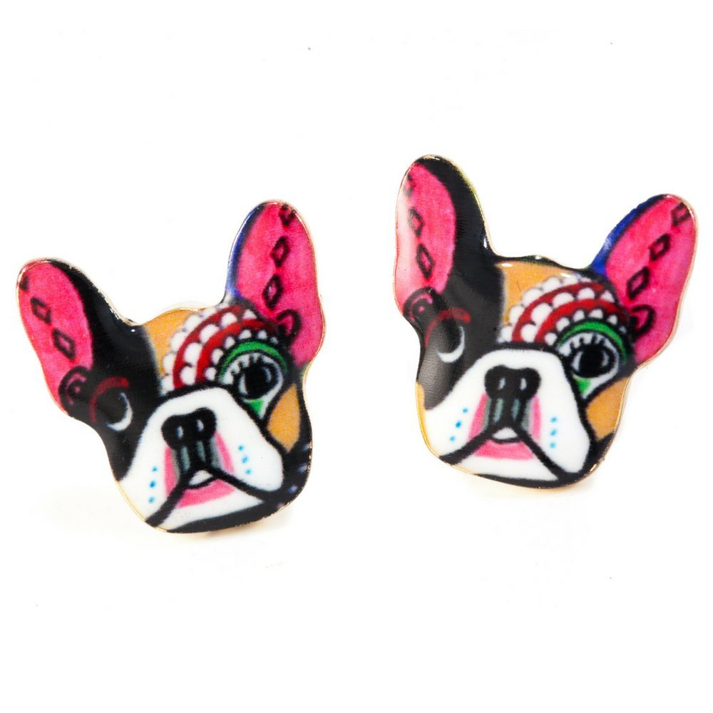 French Bulldog Earring Studs for Women and Girls Colorful Pink Dogs Dog Stud Earrings