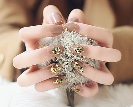 jovono Oval de la mujer postizas uñas postizas Francés Completo Warp (color desnudo)