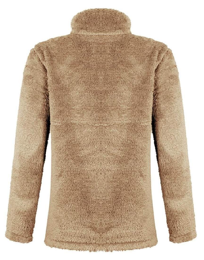 Gocgt Women Fleece Fluffy 1//4 Zipper Collar Outwear Sweatshirt Top Coat