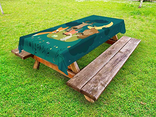 Ambesonne Animals Outdoor Tablecloth, Animals Resting Around Bonfire