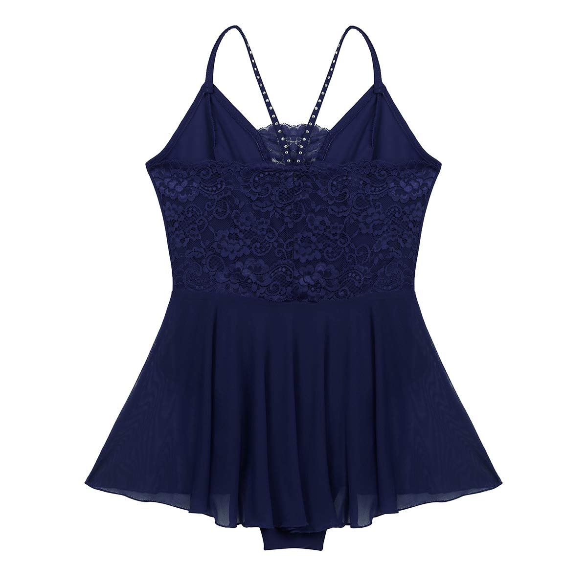 TiaoBug Women Ballet Dress Adult Gymnastics Dance Shiny Rhinestones Lace Back Leotard Costume Dancewear with Skirt
