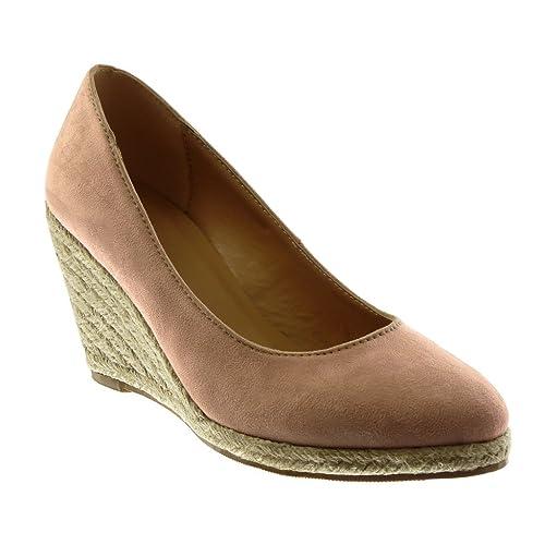 Angkorly - Zapatillas Moda Alpargatas Sandalias Slip-on Mujer Cuerda Plataforma 8.5 CM - Rosa JN1003 T 39: Amazon.es: Zapatos y complementos