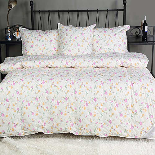 Summer Lightweight 90% White Duck Down and Feather Comforter, Floral (King(100x90 inch), (White Ground))