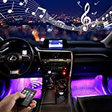 Car Interior Lights,Jawat Multicolor Music Car LED Strip Lights Under Dash Lighting Kit with Wireless Remote Control and Sound Active Function (4pcs,8 Colors,48LEDs,USB Port)