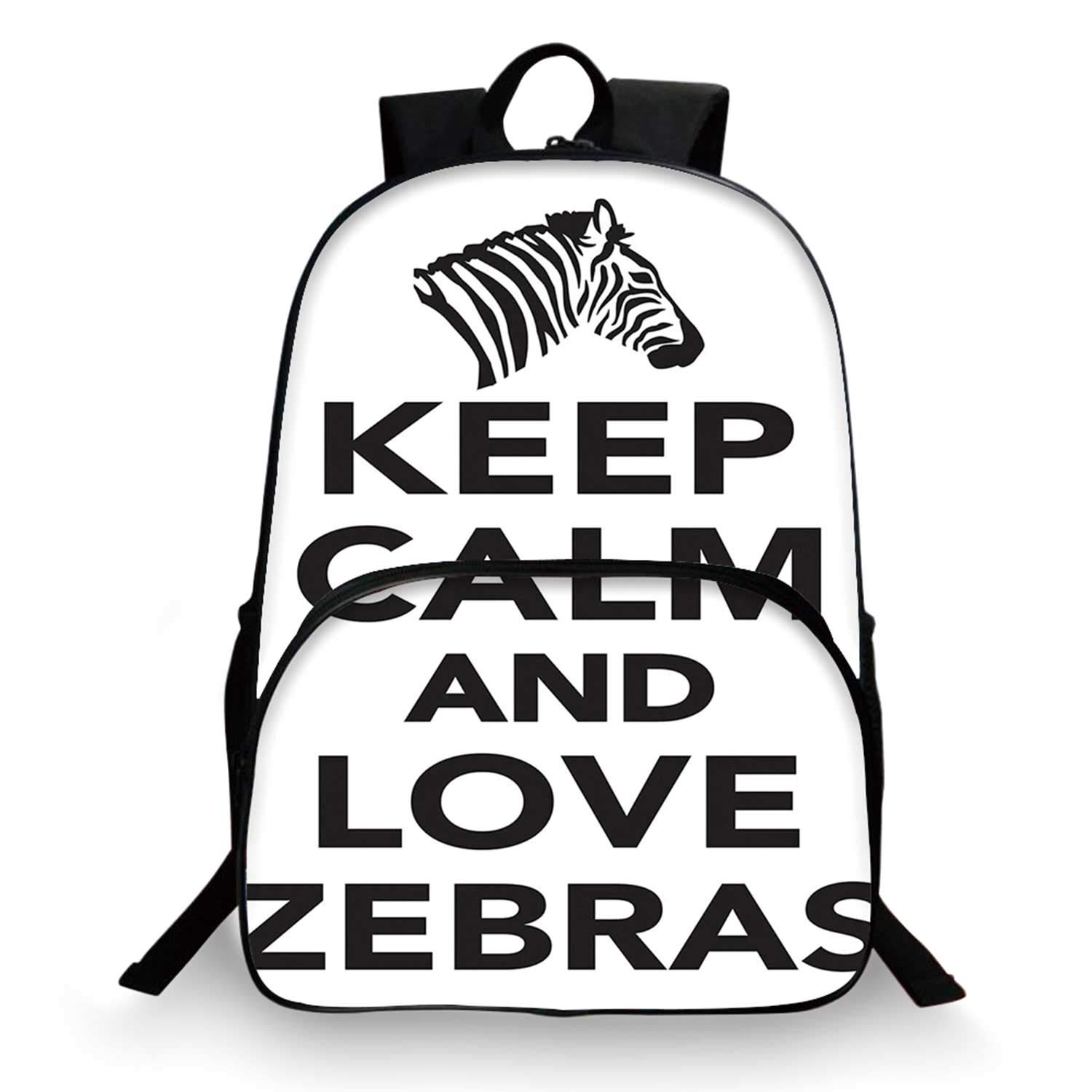 Zebra Print Various Schoolbag,Keep Calm And Love Zebras Lettering Quote With Zebra Head Pattern Silhouette for student,11''Lx6''Wx15''H by C COABALLA
