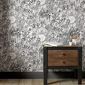 Graham brown lizzies street doodle black white wallpaper for Wallpaper for bedroom amazon