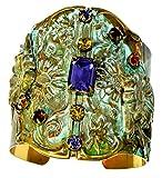 Olive Patina Brass Zinnia Flowers Wide Cuff - Swarovski Crystals