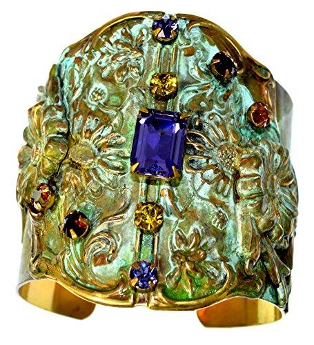 Elaine Coyne Olive Patina Brass Zinnia Flowers Wide Cuff – Swarovski Crystals