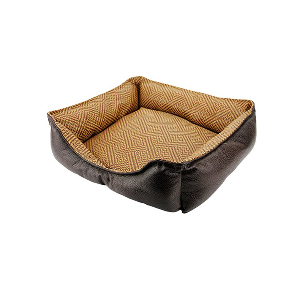 1 404013cm 1 404013cm YQQ Leather Doghouse Cat Nest Removable and Washable Pet Nest Four Seasons Universal Teddy Small Dog Kennel Resistance to Bite Cortical Fossa (color   01, Size   40  40  13cm)