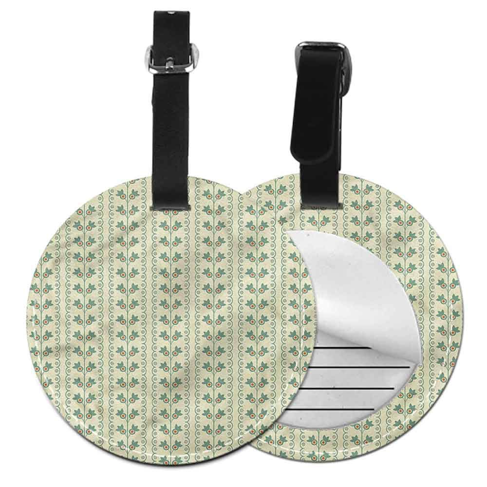 Creative Luggage Tag Floral,Vertical Lines Leaves Creative gifts