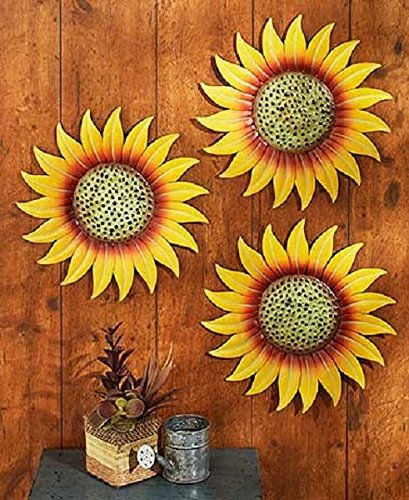 Set 3 Sunflowers Metal Wall Fence Art Sculpture Outdoor Garden