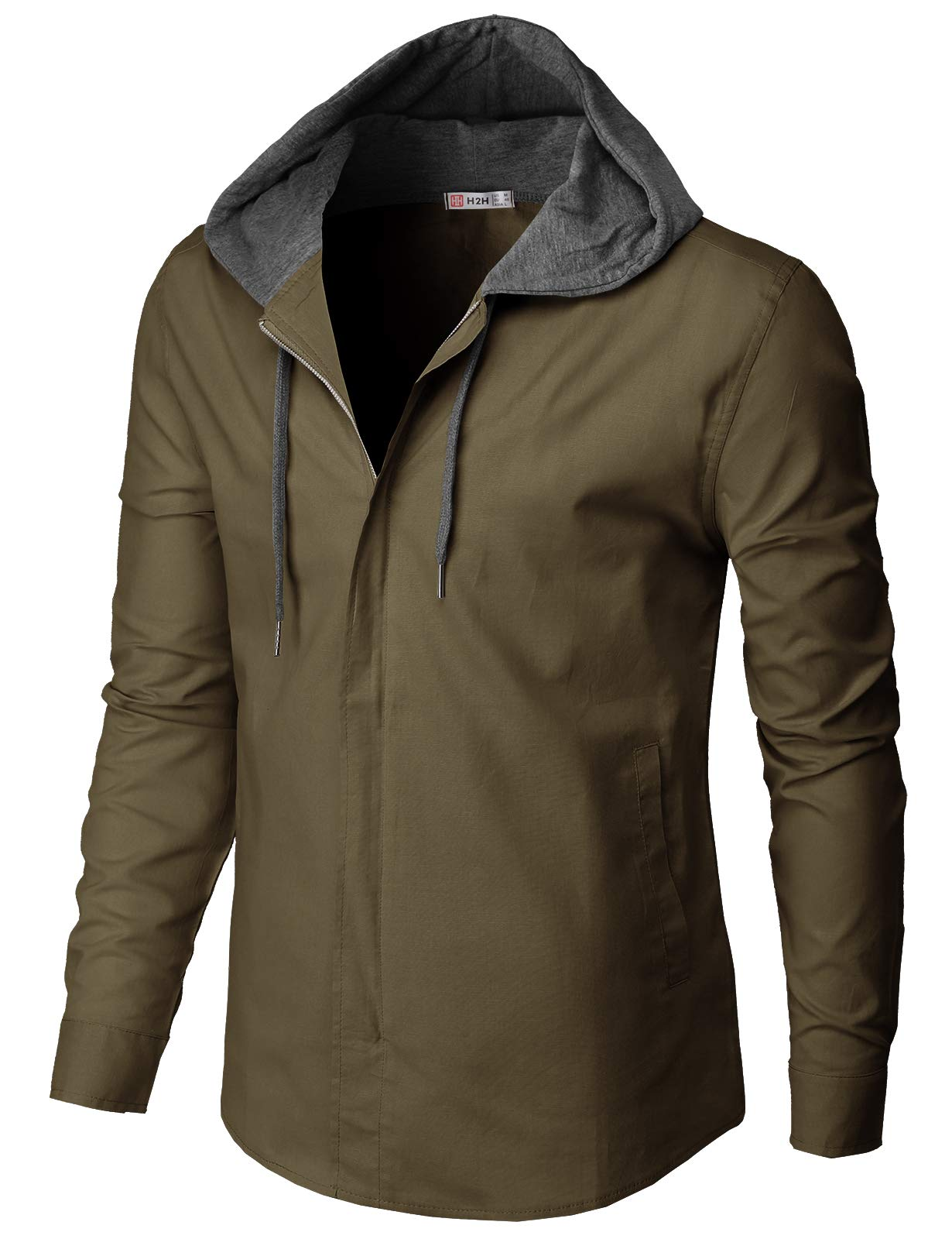 H2H Mens Casual Hoodie Jackets Long Sleeve Zip-up Outerwear Khaki US L/Asia XL (CMOJA116) by H2H