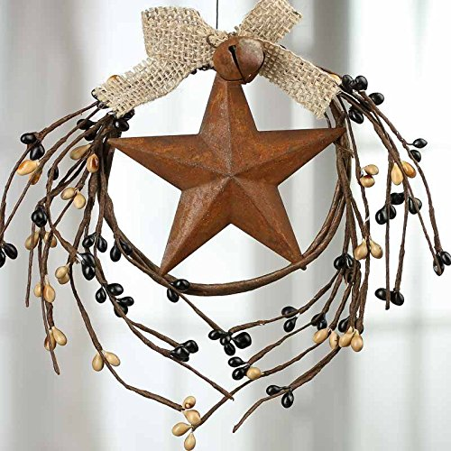 Tan Berry (Group of 4 Mini Black and Tan Pip Berry and Rusty Tin Star Hanger with Jute Bow Accent for Decorating, Creating and Embellishing (Black and Tan))