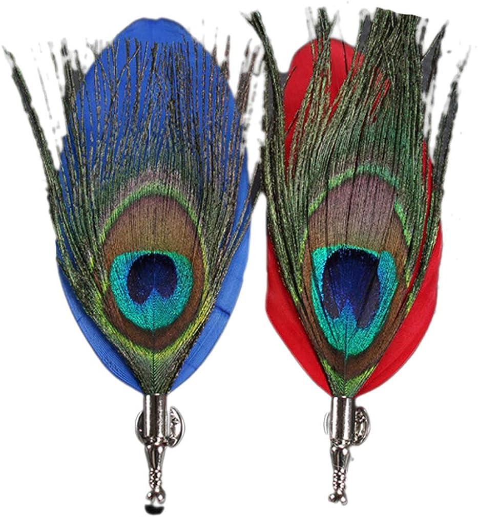 LeJulyeekay Men's Peacock Feather Pins for Wedding Groom Suit Brooch Stick Pin