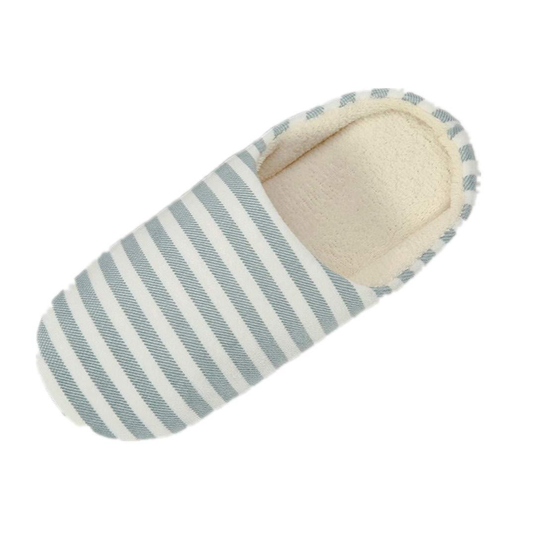 Warm Striped Slipper for Women Men Indoors Anti-slip Winter House Shoes