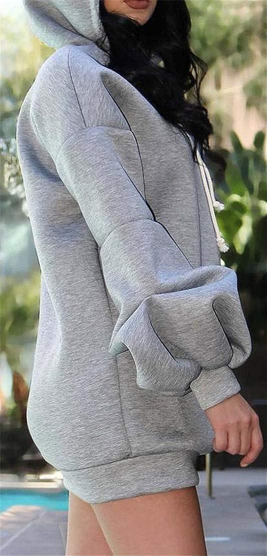 XTX Womens Sports Lantern Sleeve Long Sleeve Drawstring Kangaroo Pocket Hooded Sweatshirts
