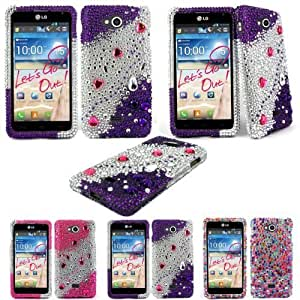 Cellularvilla (Tm) Case for LG Spirit 4G MS870 Diamond Jewel Bling Rhinestone Diamond Hard Case Cover (Purple Silver)