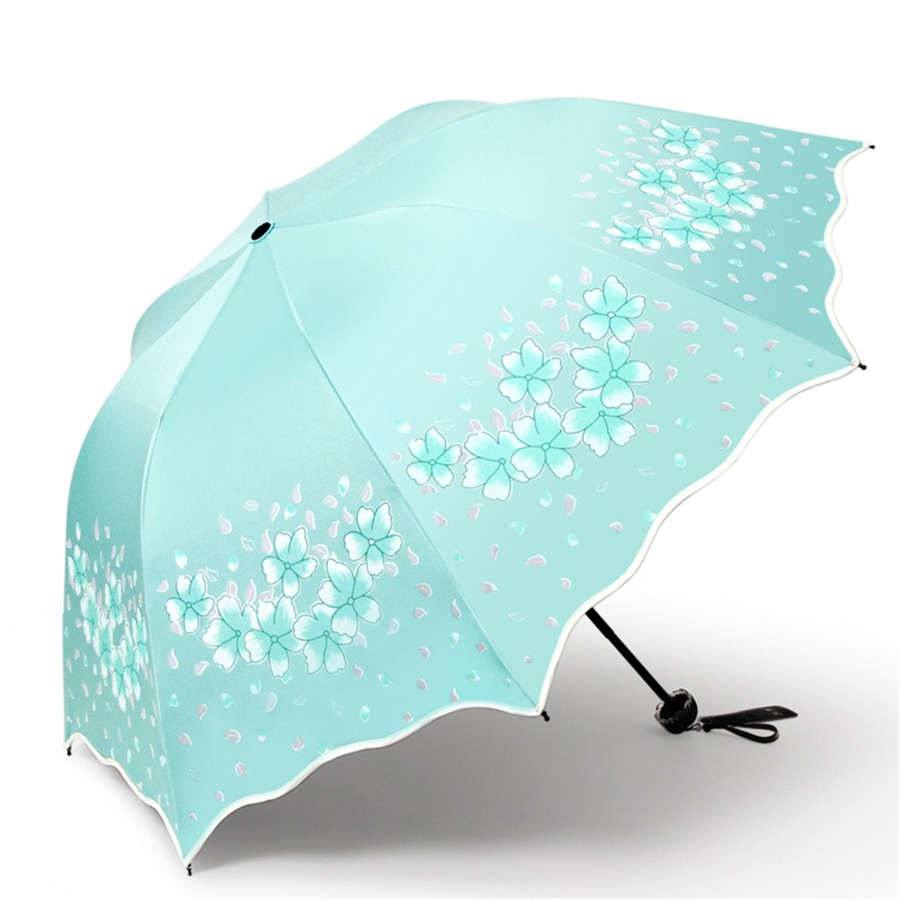 Guoke The Black Plastic Super Sunscreen Uv Protection Umbrellas With A Fine Of Two Umbrella Fold, Spend - Mint Green by Guoke (Image #1)