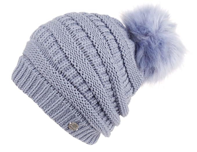 e43e3e32154 ANGELA   WILLIAM Slouchy Knit Beanie with Faux Fur Pom Pom (Indigo Blue)