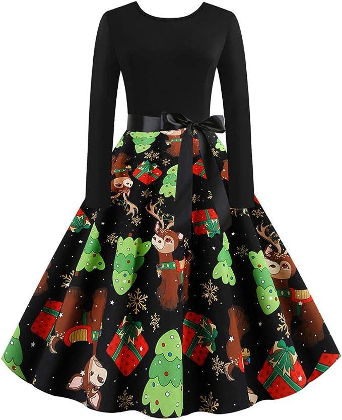 Qingsiy Vestido Vintage de Navidad para Mujer Vestidos Redondos de ...