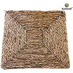 SunGrow 100% Natural multipurpose seagrass bird mat (Small) - Hand-woven, safe & edible - Water-resistant & non-toxic chew toy, play mat and bird bed - Toys Not Included - For Small Birds