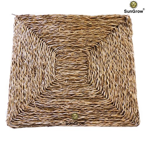 SunGrow 100% Natural multipurpose seagrass bird mat (Small) - Hand-woven, safe & edible - Water-resistant & non-toxic chew toy, play mat and bird bed - Toys Not Included - For Small Birds (Bird Mat)