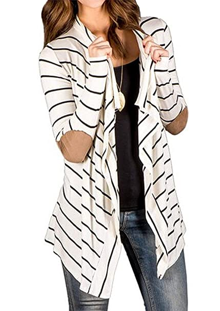 Women s Casual Long Sleeve Open Front Draped Elbow Patch Striped Cardigans  at Amazon Women s Clothing store  923d336cf