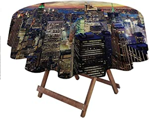 """carmaxsHome Table Cloth New York for Everyday Indoor Outdoor Dining Urban Skyline of NYC 70"""" Round"""