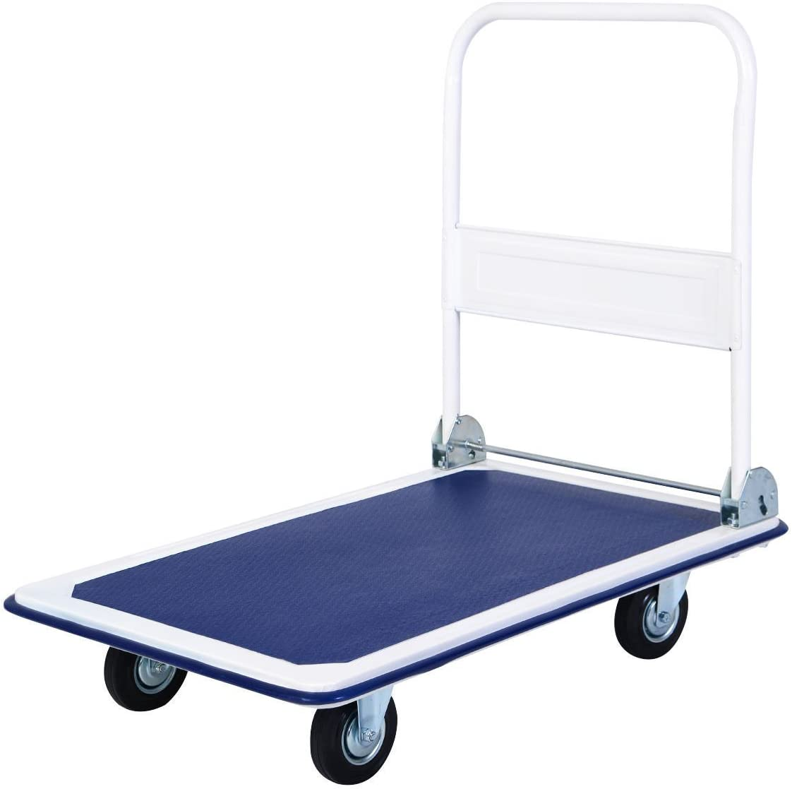 300 LB Capacity Hand Platform Flat Cart Dolly with Folding Handle Handcart