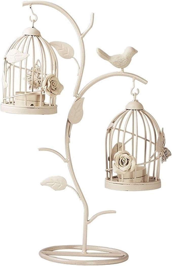 CZXKJ Portavelas para Mesa Retro Rama pájaro Jaula candelabro Creativo Hierro romántico Vela portades artesanías Centros de Boda Decoraciones for el hogar (Size : B)