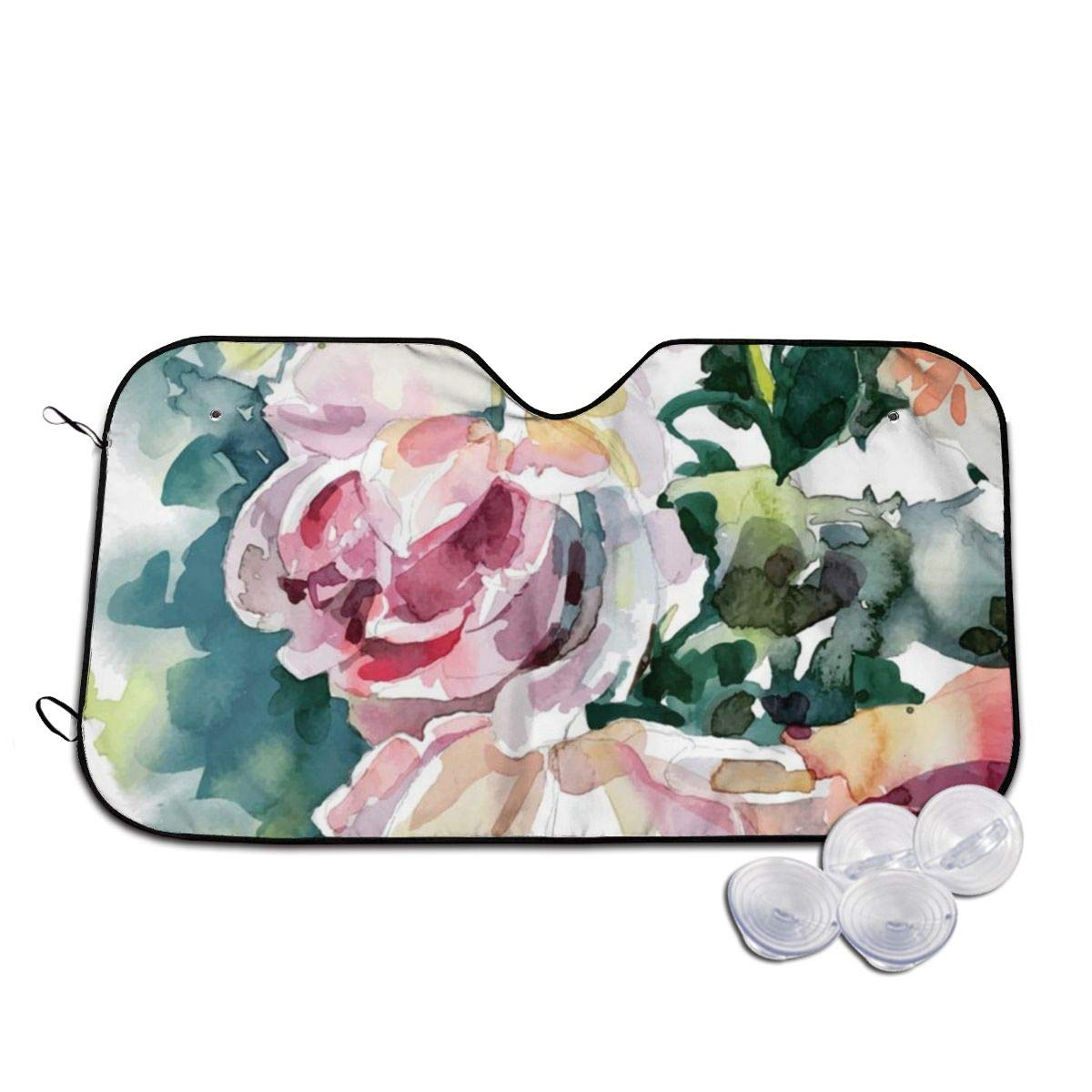 visera para ventana frontal para evitar que el coche se caliente en el interior Rterss Original pintura de acuarela de rosas rosas parabrisas personalizado