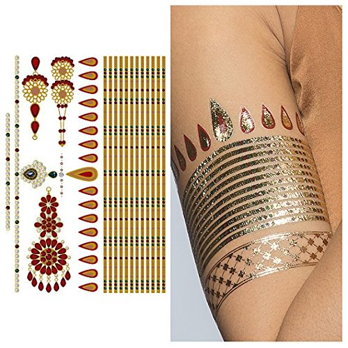 Armband Set (Tattify Gold And Ruby Armband and Bindi Temporary Tattoo - Indian Princess Sheet 1 (Set of 1 sheet) - Other Styles Available and Fashionable Temporary Tattoos)