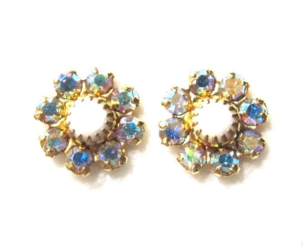 Topaz and clear Aurora borealis Swarovsk crystal earrings 014